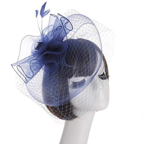 HQQ Américain Dames De Mariage Chapeaux Pince À Cheveux Headpiece Western-Style Cour Banquet Creative Mesh Plume Hat (Color : Royal Blue)