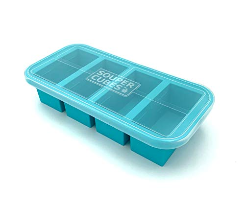 Souper Cubes 1-Cup Extra-Large Silicone Freezing Tray with Lid - makes 4 perfect 1cup portions - freeze soup broth or sauce