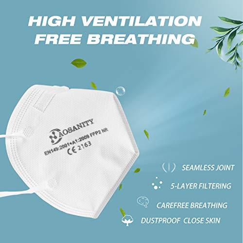 10 X AOSANITY FFP2 Atemschutzmaske - Konforme Maske EN 149:2001+A1:2009, Maske mit mehrschichtigem System, hohe Filtrationskapazität Zusätzlicher Komfort und Sicherheit - 3