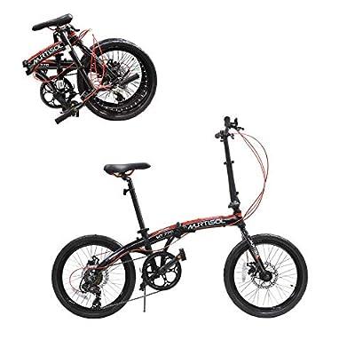 Murtisol 20 Inch Folding Bike Shimano 7 Speeds Disc Brake Aluminum 11.6 Inch Frame Adjustable Seat and Handlebars, Color Black-Red