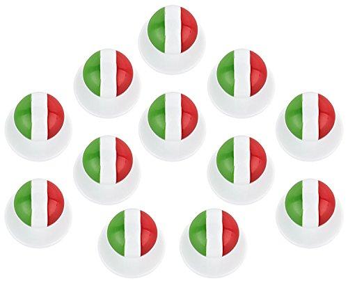 DESERMO 12er Set Kugelknöpfe Länder für Kochjacken | Hochwertige Kochjackenknöpfe für alle Kugelknopf-Kochjacken | Profi Kochknöpfe mit Länder Flagge (Italien)