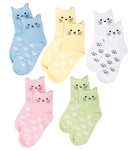 Maiwa Bequem Ohne Drückende Naht Katzen Baumwollsocken für maedchen 5 Packung (5-8 Jahre /16-18 CM), Mehrfarbig