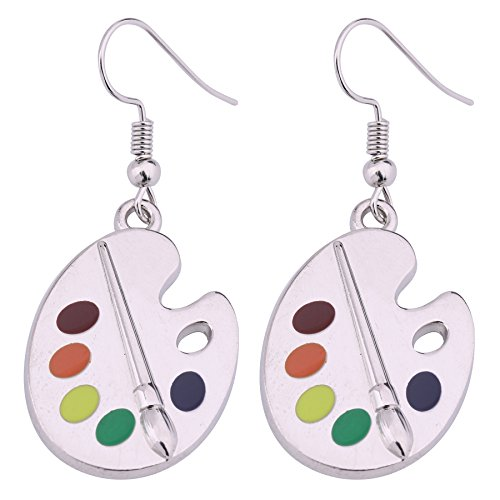 Artist Paint Palette and Brush Enamel Pendant Earrings Zinc Alloy Dangle Drop Earrings Delicate Gift for Painter Artists Women Girls