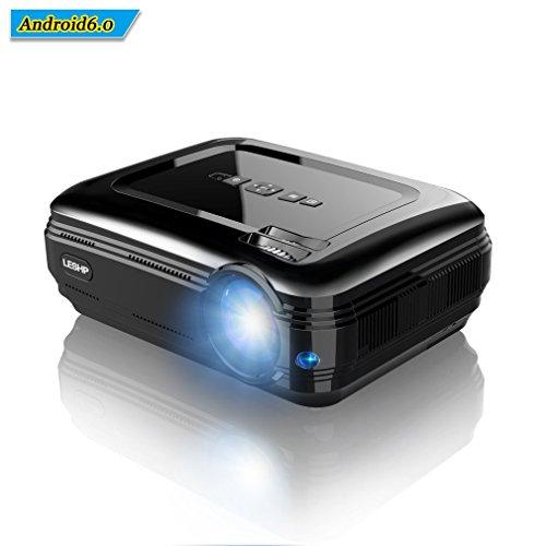 LESHP Proiettore di Video, LED Proiettore Portatile con Sistema Android 3200 Lumen Full HD 1080p Proiettore per Home Cinema (Altoparlante Incorporato, con USB/ HDMI/ VGA/ AV, per PC Laptop Xbox), Nero