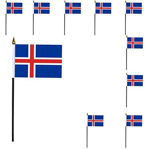 Sonia Originelli 10er Set Mini Flaggen WM Fußball 10x15 cm Party Anfeuern Fahnen Farbe Island