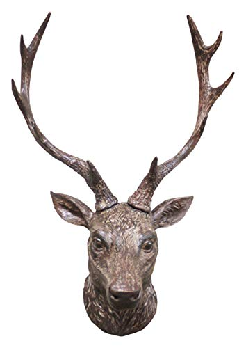 Stag Head Wall Mounted Ornament Large Stags Antlers Aged Reindeer Home Sculpture