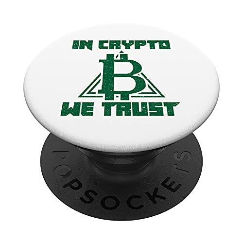 In Crypto We Trust Cryptocurrency HODL Bitcoin Blockchain PopSockets PopGrip: Agarre intercambiable para Teléfonos y Tabletas