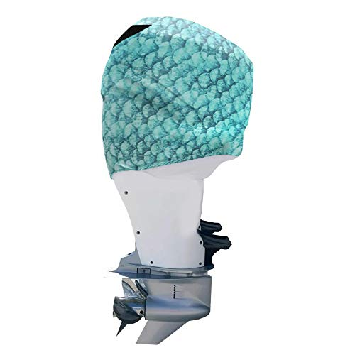 OUTERENVY Blue Green Fish Scales Outboard Motor Cover for Mercury 150 HP 4 Stroke (2013-Present) | Made in USA to Stay on While You Run!