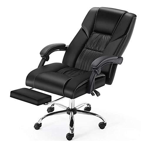 Leder Computer Stuhl, Ergonomischer Bürostuhl Massage Boss Stuhl Spiel Stuhl Liegend Drehen Mit Fußstütze Hebesitz