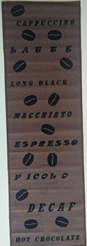 onloom Küchenläufer Coffee, strapazierfähiger und pflegeleichter Läufer in Kaffee-Muster, Verschiedene Motive, braun, Größe:67x180cm, Farbe:Braun-Beige Kariert
