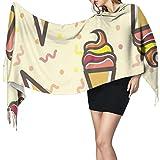 XCNGG Bufanda con flecos de cachemira de imitación chal bufanda larga de moda Unisex Cashmere Scarves Ice Cream Pattern Blanket Wraps Wrap Shawls With Fringe Winter Scarf Shawl For Women