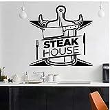 Steak House pegatinas de pared carnicería carne de vacuno tenedor cuchillo vinilo pared calcomanía para cocina comedor decoración arte Mural 74x79cm