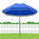 Patio Paraguas Outdoor Market Sombrillas Tabla Parasol, UPF 50+ Paño impermeable de Oxford, azul, verde, jardín verde subrayado, con costillas fuertes, 2.2 m, 2.4 m, 2.6m, 2.8m, 3.0m, 3.2m, 3.4m