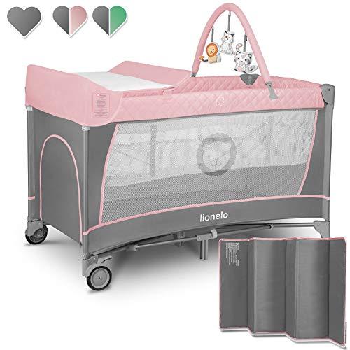 Lionelo Flower 2 in 1 lettino da viaggio box bambini dalla nascita pieghevole fino a 15 kg con fasciatoio con portaoggetti archetto con giocattoli pendenti (Rosa)