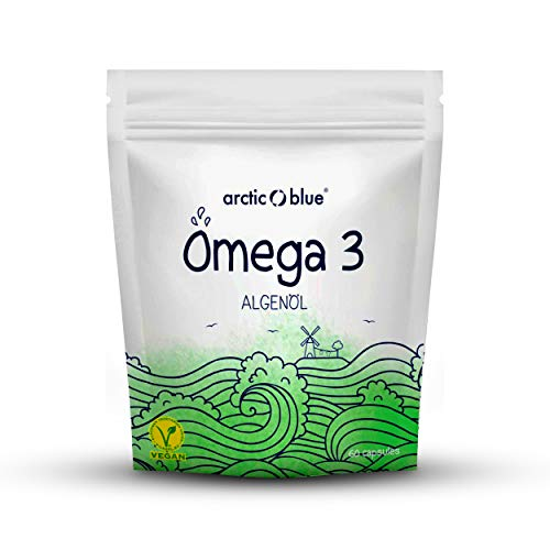 Omega 3 Algenöl Kapseln – leicht zu schlucken, hochdosiert & vegan – 60 Kapseln mit je 250 mg DHA für 60 Tage – niedriger Oxidationswert, ohne fischiges Aufstoßen – arctic blue