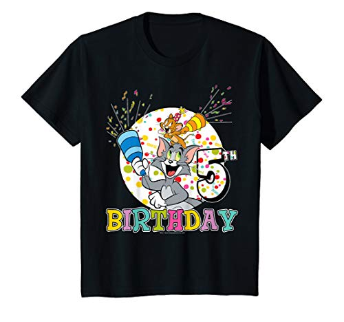 Kids Tom And Jerry 5th Birthday Portrait T-Shirt