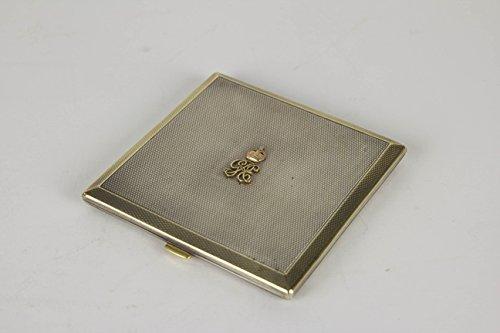Puderdose, London 1937, Geschenk des Königspaars von England, Silber und Gold, mit Stempelmarken,...