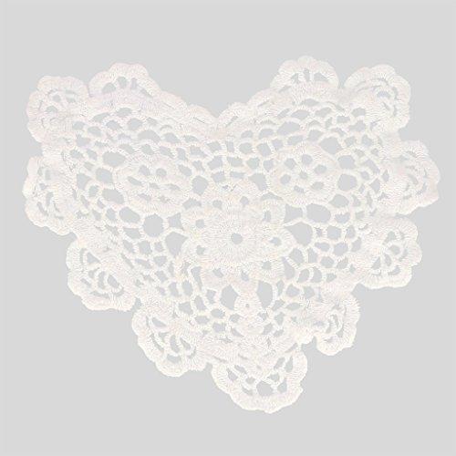 Centrino uncinetto merlettato Cuore 20 cm Bianco x1