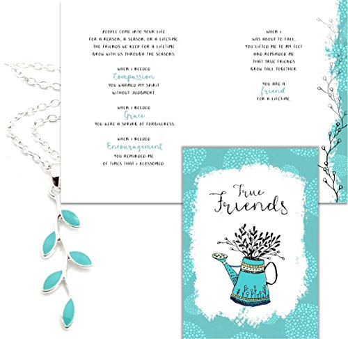 Smiling Wisdom - Light Blue Silver Vine Friendship Greeting Card Gift Set - A Reason Season Lifetime Friend - Her True Best Woman Bestie BFF – Silver and Turquoise Color, Enamel Painted