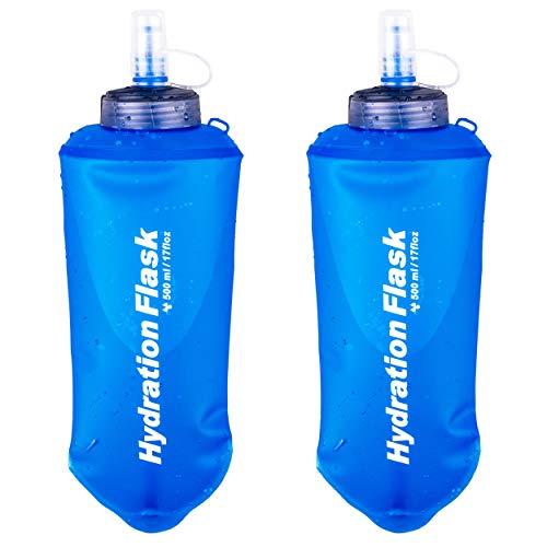 Azarxis TPU Faltbarer Soft Flask, BPA-Frei Trinkblase Trinkflaschen Wasserflasche für Trinkrucksack Fahrrad Klettern Sport (500ml - 2 Stück - Blau)