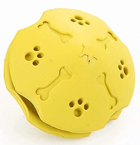 THMY Perros Gatos Comida Juguetes para Fugas, Juguete para Limpiar los Dientes, Suministros de Rompecabezas interactivos de Goma para Mascotas (Amarillo)