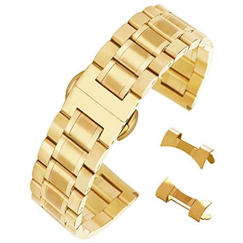 Bracelets de Montre avec Boucle déployante en Or Version Facile de 20 mm Bandes en Acier Inoxydable Solides durables