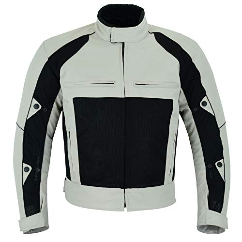 Warrior Gears Chaquetas de moto Air Mesh para hombre   Chaquetas de moto para hombre con forro extraíble y armaduras CE, chaquetas ligeras impermeables para hombre - beige y negro