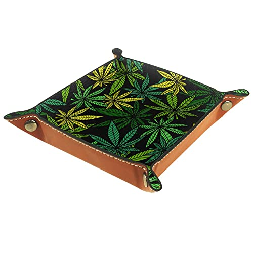 YATELI Caja de Almacenamiento pequeña, Bandeja de Valet para Hombre,Hierbas de la Hoja de Marihuana,Organizador de Cuero para Llaves de Caja de Monedas