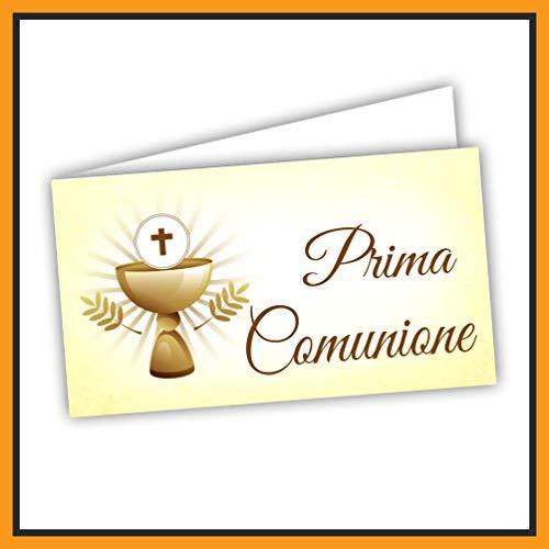 Bigliettini Prima Comunione per Bomboniera, fazzoletti,confetti e sacchetti - 60 pezzi pretagliati - Facili da Personalizzare, Fai da Te, con Guida (CALICE)