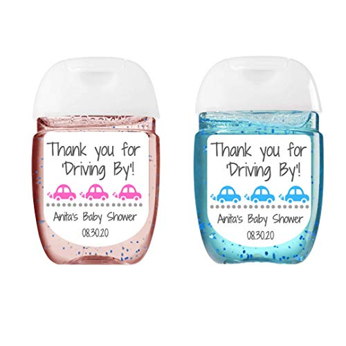 Drive By Baby Shower Hand Sanitizer Label | Sheet of 30 Personalized Labels | Drive Thru Baby Shower Favor | Personalized Hand Sanitizer Sticker