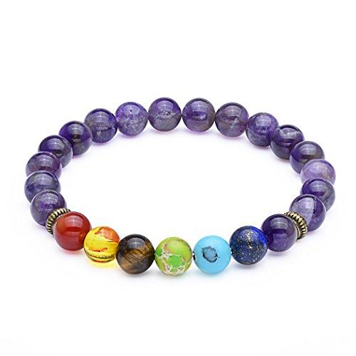 SROMAY 8mm Seven Chakra Amethyst Bead Bracelet - Elastic Natural Gemstone Healing Yoga Bracelet