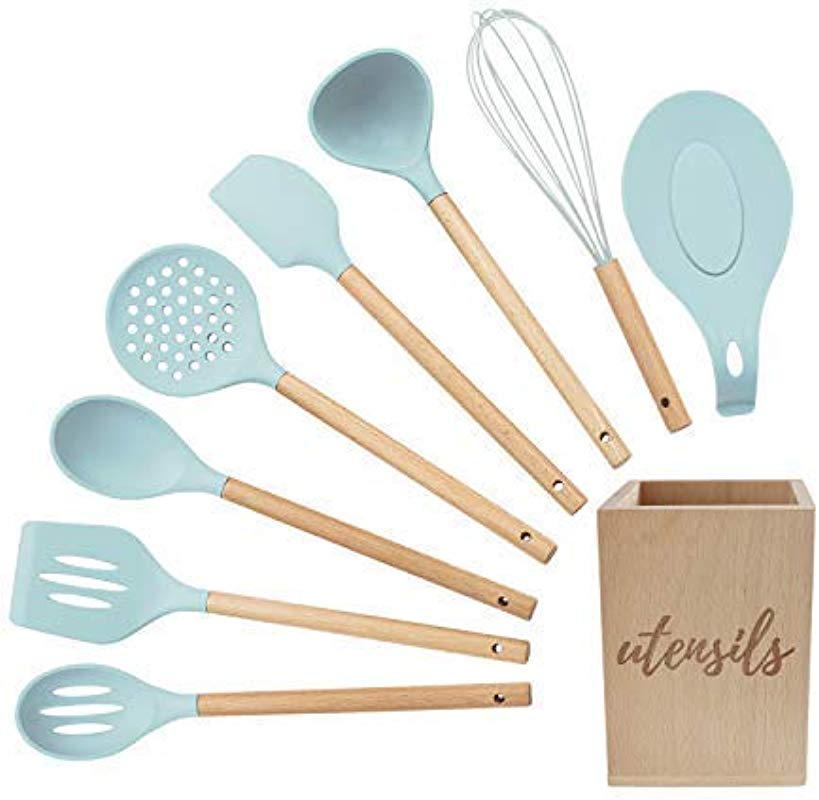 Silicone Cooking Utensils Set Turquoise Kitchen Utensils Set With Holder Silicone Spoon Rest Silicone Ladle Basting Spoon Slotted Spoon Pancake Turner Spatula Skimmer Whisk Rustic Utensil Holder
