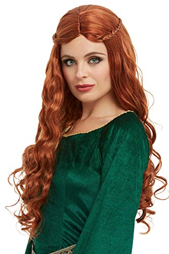 Smiffys 50756 - Peluca de princesa medieval, color caoba