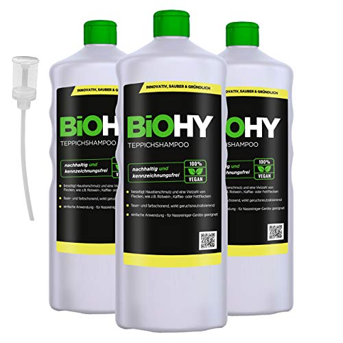 BiOHY Alfombra - Champú (3 botellas de 1 litro) + Dosificador | Limpiador de alfombras ideal para eliminar manchas difíciles | ESPECIAL DESARROLLADO PARA LAVAR LIMPIADORES DE VACÍO (Teppichshampoo)
