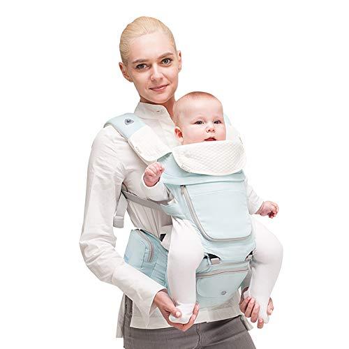 Bebamour Babytrage Neugeborenes bis Kleinkind, 6 in 1 Babytrage für 0-36 Monate, 100{016e9c83ba081e49184d180716e967fd5fdf64729111282337efddfc603631a3} Baumwolle, faltbarer Baby-Hüftsitz 3 Stück Baby Drool Lätzchen (Hellblau)
