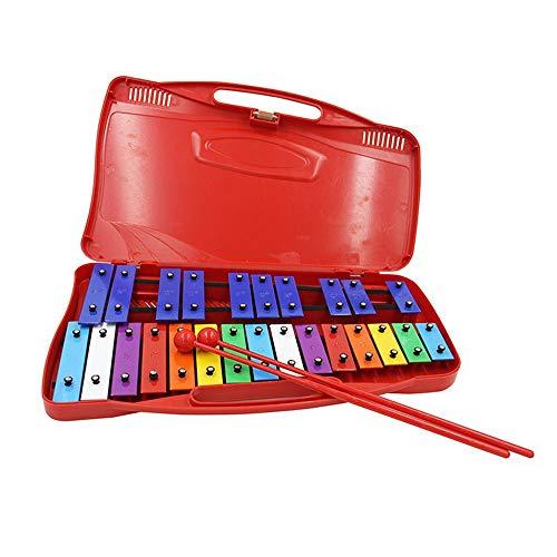 ZXIAQI Xylophon für Kinder, 25 Töne Holzspielzeug Musikinstrument, Schlaginstrument mit 2 Schlägeln Perfekt für Kleine Musiker, Mehrfarbig,Rot