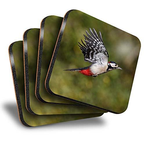 Destination Vinyl ltd Great Posavasos cuadrados (juego de 4) – Great Spotted Woodpecker Drink brillante posavasos / protección de mesa para cualquier tipo de mesa #3325