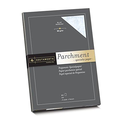 Southworth - Carta pergamena, 25% cotone Carta DIN A4, 80 fogli. Blu