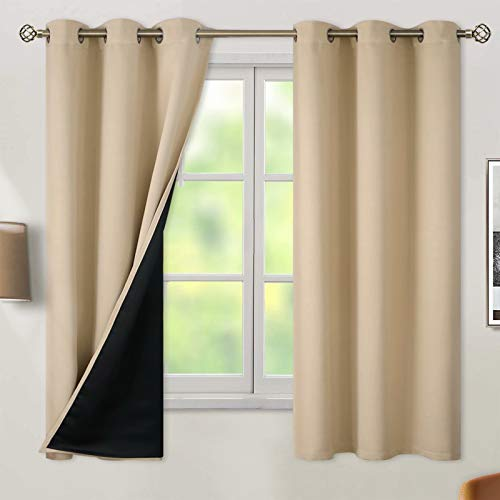 BGment Thermal Insulated 100% Blackout Curtains for Bedroom with Black Liner, Double Layer Full Room Darkening Noise Reducing Grommet Curtain (42 x 63 Inch, Beige, 2 Panels)