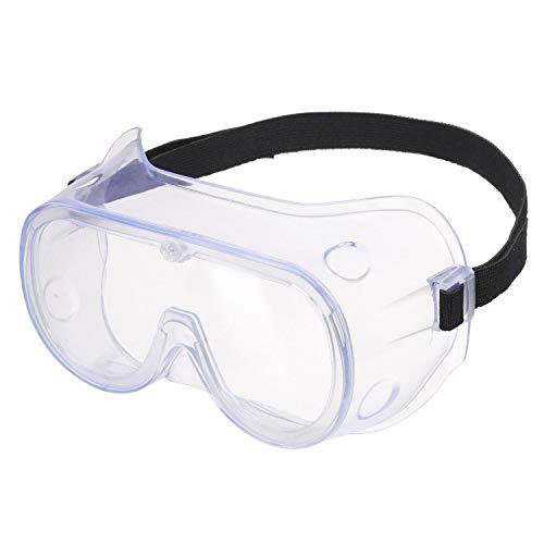 HOLULO Schutzbrille für Brillenträger, Vollsichtbrille klare Polycarbonatscheiben, Schleifbrille mit Verstellbarem Kopfband für Fahrrdfahren, Labor, Baustelle, Outdoor EN166