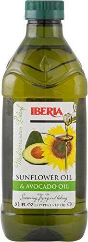 Iberia Avocado and Sunflower Oil (1.5 Liter) for High Heat Cooking, Frying, Baking, Homemade Sauces, Dressing and Marinades, Cold Pressed Avocado Oil and Sunflower Oil from Spain, Kosher
