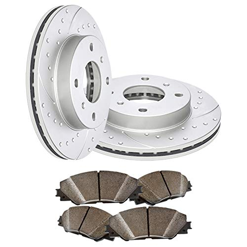 Rear Premium Geomet rust protected Drilled and Slotted Brake Rotors and severe Duty Metallic Pads MAXJ26784MDS | Fits: Integra Accord Coupe Civic Coupe Civic Del Sol Civic Hatchback Civic Sedan CRX Pr