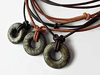 Stone Circle Necklace - Adjustable Leather Cording