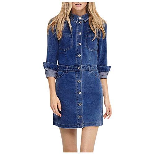 SONIGER_Dress Womens V Neck Sleeeveless Demin Short Dresses,Swing Flared Tunics Lace Up Dress for Summer