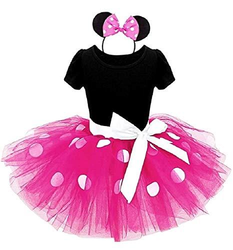 Costume minnie carnevale bambina vestito topolina travestimento topina body tutu tulle cerchietto (taglia 130) 6 anni fuxia cosplay ottimo regalo per natale o compleanno