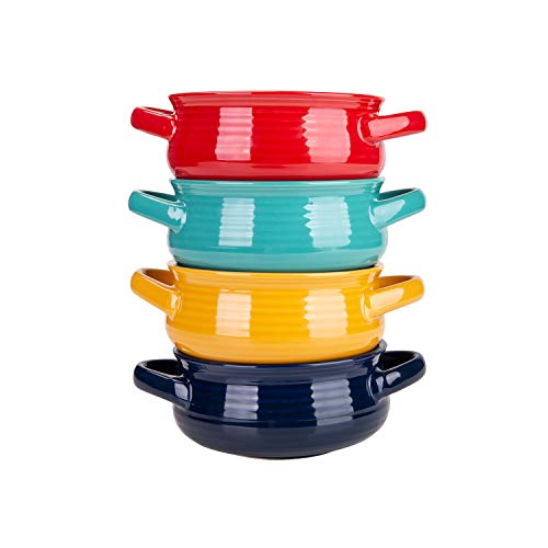 Cutiset 20 Ounces ceramic bowls set with handles for Soup, Cereal, Stew,...