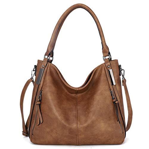 KL928 tasche damen Handtasche gross Umhängetasche Schultertasche Damenhandtasche PU Leder elegante Tasche damen Henkeltaschen für frauen (KL7192 Brown)