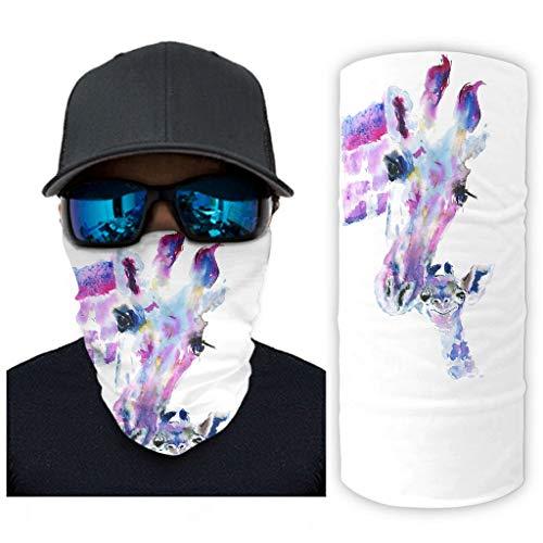 CCMugshop Mscara facial de jirafa, multicolor, para nios y madres, con estampado, elstica, color blanco, talla nica
