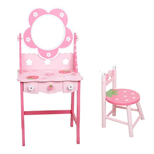 HUDEMR Schlafzimmer Schminktische Kinder Holz Dresser Mädchen-Kindergarten Role Play House Puzzle Princess Dresser Kindermöbel (Color : Pink, Size : 99x48cm)