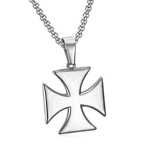 BOBIJOO JEWELRY - Collar Colgante Hombre Cruz Templaria Pattee Solar de la Rueda de Acero Inoxidable 316L Cadena de Plata